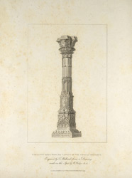 'A column taken from the Temple of Vis Visha at Benares'. Engraving by T. Medland after William Hodges. Published in London, 1793